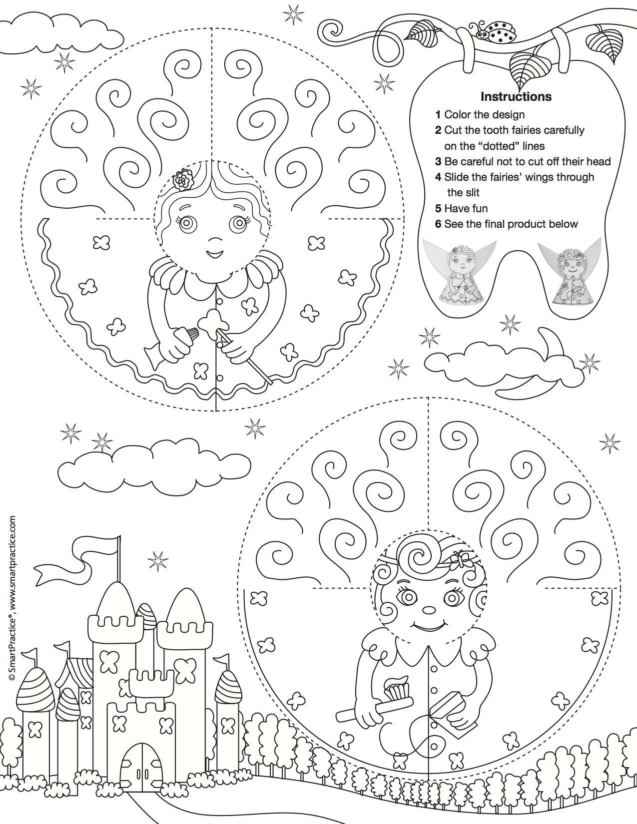 A tooth fairy coloring sheet.